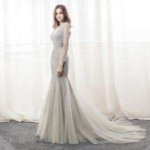 Luxury / Gorgeous Grey Evening Dresses  2018 Trumpet / Mermaid Beading Sequins V-Neck Backless Long Sleeve Chapel Train Formal Dresses