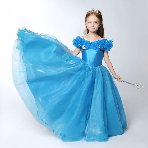 Piękne Kościół Sukienki Na Wesele 2017 Sukienki Dla Dziewczynek Niebieskie Suknia Balowa Długie V-Szyja Kótkie Rękawy Bez Pleców Kwiat Aplikacje