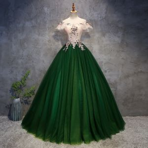 Chic / Beautiful Dark Green Prom Dresses 2018 Ball Gown Appliques Pearl Off-The-Shoulder Backless Sleeveless Floor-Length / Long Formal Dresses