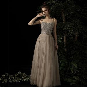 Charming Champagne Evening Dresses  2019 A-Line / Princess Spaghetti Straps Sleeveless Beading Floor-Length / Long Ruffle Backless Formal Dresses