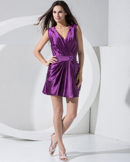Stilvollen Fest Charmeuse V-ausschnitt Ärmellosen Sicke Reißverschluss Gürtel MinifaltenCocktail Partykleid