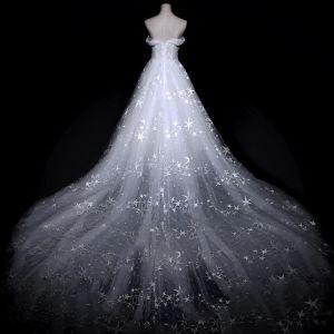 Unique Blanche Robe De Mariée 2018 Princesse De l'épaule Manches Courtes Dos Nu Étoile Tulle Volants Royal Train