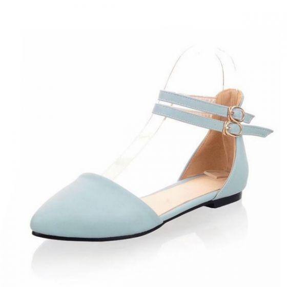 Hermoso Sandalias Plano Mujer De Azul Cielo Zapatos Para Tacón CBrxedoW