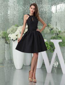 2015 Einfache High-ansatz Sleeveless Kurzes Partykleid Kleine Schwarze Kleid