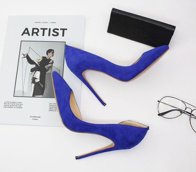 Sencillos Azul Real Oficina OL Zapatos De Mujer 2020 12 cm Stilettos / Tacones De Aguja Punta Estrecha De Tacón