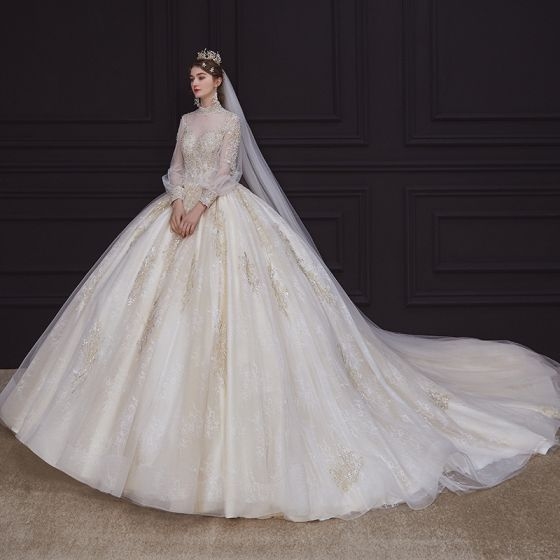 Victorian Style Champagne Bridal Wedding Dresses 2020 Ball Gown See-through High Neck Puffy Long Sleeve Backless Handmade  Beading Pearl Appliques Lace Royal Train