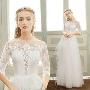 Eleganta Stranden Bröllopsklänningar 2017 Vit Prinsessa Långa Urringning 1/2 ärm Halterneck Spets Appliqués