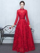 Elegant High Neck Evening Dress Red Lace Formal Dress With Bowknot Sash