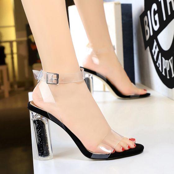 Sexy Noire Club de carnaval Sandales Femme 2020 Bride Cheville 11 cm Talons Épais Peep Toes / Bout Ouvert Sandales