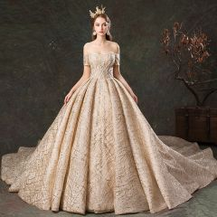Sparkly Champagne Wedding Dresses 2019 Ball Gown Off-The-Shoulder Short Sleeve Backless Glitter Tulle Cathedral Train Ruffle