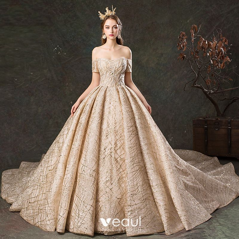 Sparkly Champagne Wedding Dresses 2019 Ball Gown Off-The