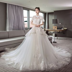 Chinese style Ivory See-through Wedding Dresses 2018 A-Line / Princess High Neck Short Sleeve Backless Appliques Lace Beading Cathedral Train Ruffle