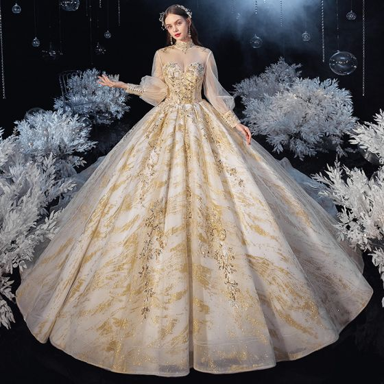 Victorian Style Champagne See-through Bridal Wedding Dresses 2020 Ball Gown High Neck Puffy Long Sleeve Backless Appliques Sequins Glitter Tulle Beading Cathedral Train Ruffle