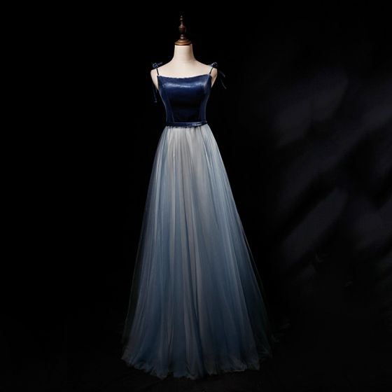 Chic / Beautiful Navy Blue Gradient-Color Suede Evening Dresses  2019 A-Line / Princess Spaghetti Straps Sleeveless Sash Floor-Length / Long Ruffle Backless Formal Dresses
