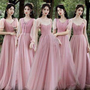 Betaalbare Blozen Roze Bruidsmeisjes Jurken 2020 A lijn Ruglooze Lange Ruche