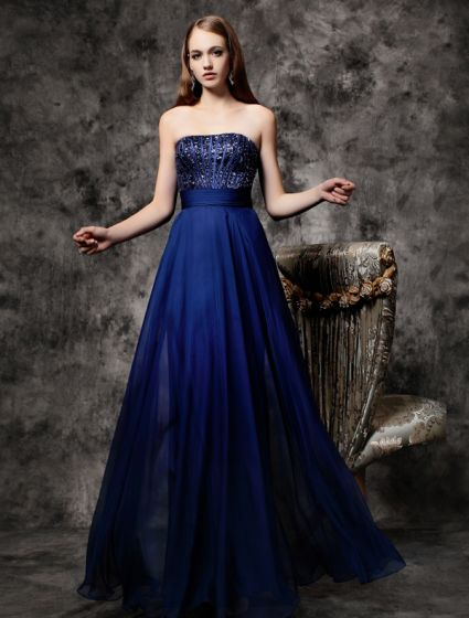 2016 Sparkly Strapless Sequin Ruffle Royal Blue Chiffon Backless Prom Dress