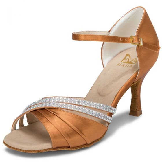 Modern / Fashion Bronze Prom Rhinestone Latin Dance Shoes 2021 7 cm Stiletto Heels Open / Peep Toe Womens Sandals High Heels