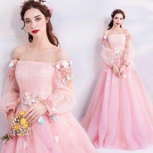 Fée Des Fleurs Rose Bonbon Robe De Bal 2019 Princesse De l'épaule Gonflée Manches Longues Appliques Fleur Perlage Faux Diamant Longue Volants Dos Nu Robe De Ceremonie