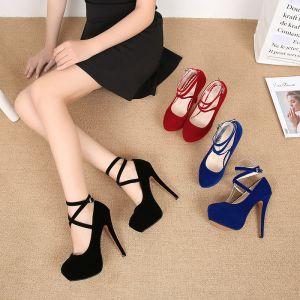 Classy Black Evening Party Pumps 2020 Suede Ankle Strap 14 cm Stiletto Heels Round Toe Pumps