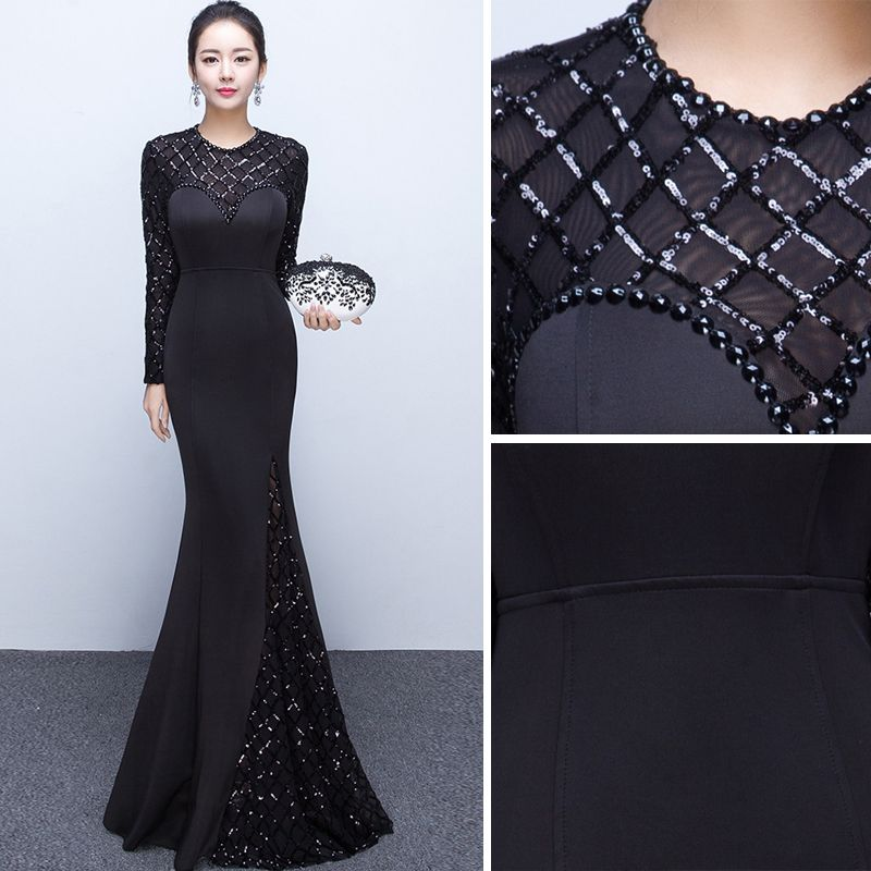 Chic / Beautiful Solid Color Black Evening Dresses  2019 Trumpet / Mermaid Scoop Neck Beading Crystal Sequins Long Sleeve Backless Floor-Length / Long Formal Dresses