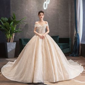 Luxury / Gorgeous Champagne Wedding Dresses 2019 Ball Gown Off-The-Shoulder Sequins Short Sleeve Backless Royal Train