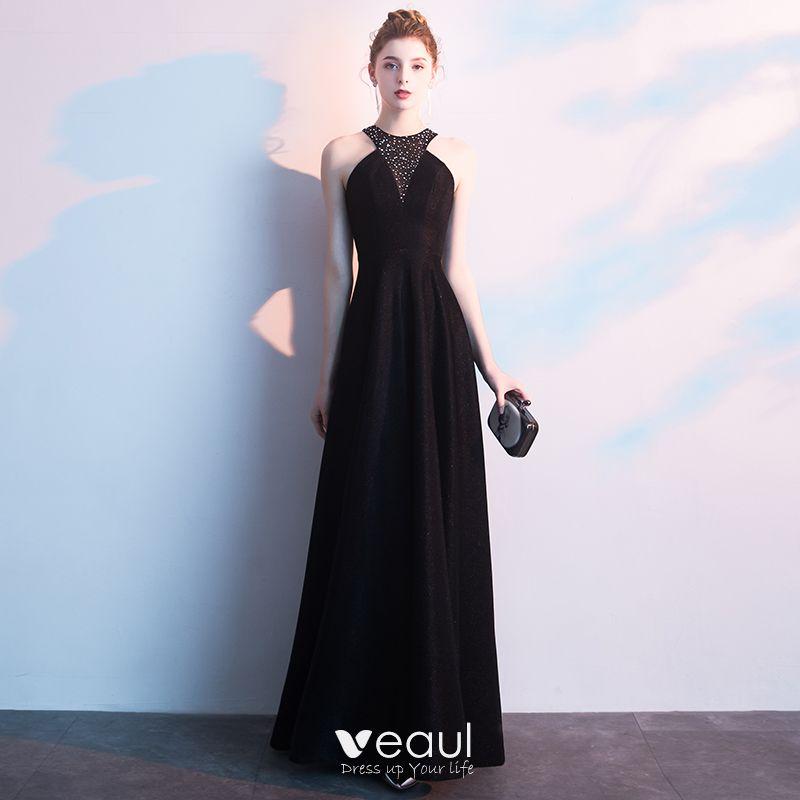 6f280a13e1f6f Sexy Black Evening Dresses 2019 A-Line / Princess Sleeveless ...