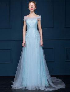 A-linie Off-die-schulter Schatz Licht Himmel Blau Tüll Abendkleid
