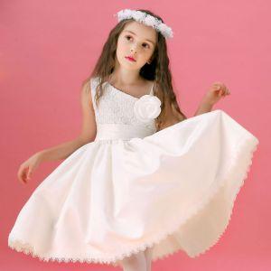 Weiß-blumenmädchenkleid Spitzenrock Prinzessin Kleid Kommunionkleider