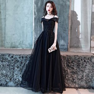 Charming Black Evening Dresses  2019 A-Line / Princess Spaghetti Straps Beading Crystal Lace Flower Short Sleeve Backless Floor-Length / Long Formal Dresses