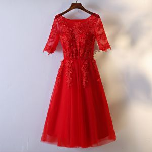 Chic / Beautiful Formal Dresses Prom Dresses 2017 Red Lace Flower Sequins A-Line / Princess Tea-length 1/2 Sleeves Scoop Neck