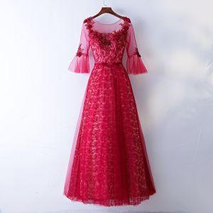 Schöne Rot Abendkleider 2017 A Linie Mit Spitze Blumen Pailletten Schleife Rundhalsausschnitt Rückenfreies 3/4 Ärmel Knöchellänge Abend