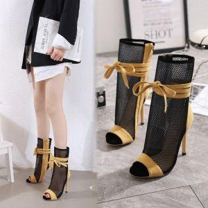 Fashion Yellow Street Wear Suede Womens Boots 2020 Bow 11 cm Stiletto Heels Open / Peep Toe Sandals