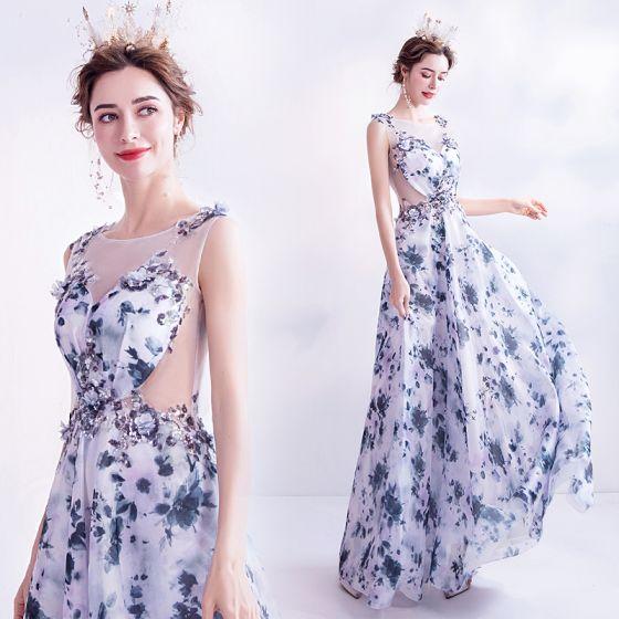 Charming Ocean Blue Ivory Floral Evening Dresses  2020 A-Line / Princess Scoop Neck Sequins Appliques Printing Sleeveless Backless Floor-Length / Long Formal Dresses