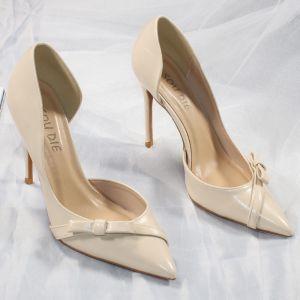 Sexy Nues Cocktail Chaussures Femmes 2020 Noeud 10 cm Talons Aiguilles À Bout Pointu Talons