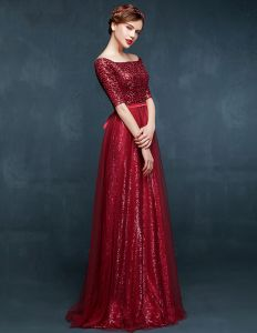 2015 Off The Shoulder Long-sleeved Long Evening Dress