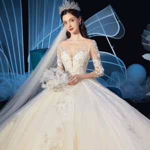 Charming Champagne See-through Wedding Dresses 2019 Ball Gown Scoop Neck 3/4 Sleeve Glitter Tulle Beading Appliques Lace Cathedral Train Ruffle