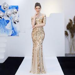 Sparkly Champagne Evening Dresses  2019 Trumpet / Mermaid Off-The-Shoulder Sequins Short Sleeve Backless Floor-Length / Long Formal Dresses