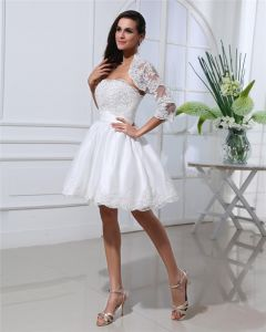 Cuisse Longueur Bustier Fleurs Bowknot Satin Mini Robe De Mariée En Dentelle