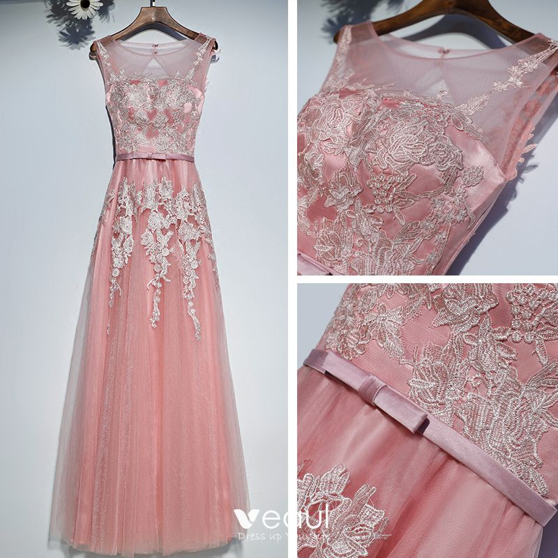 Lovely Candy Pink Formal Dresses 2017 Lace Flower Bow Scoop Neck Prom Sleeveless Floor-Length / Long A-Line / Princess Prom Dresses