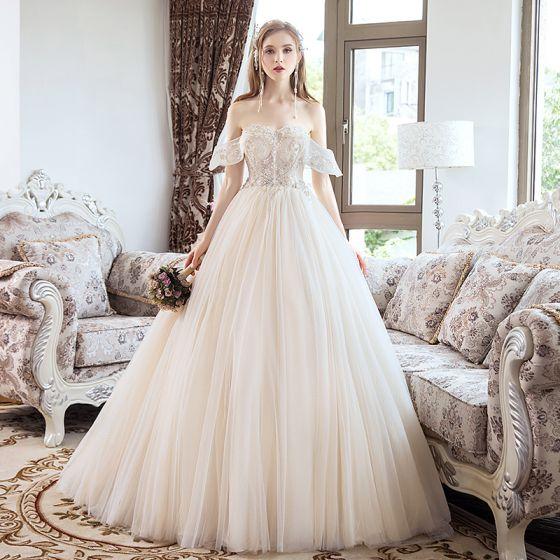 Uroczy Szampan Suknie Ślubne 2019 Princessa Frezowanie Kryształ Perła Cekiny Bez Ramiączek Bez Pleców Bez Rękawów Długie