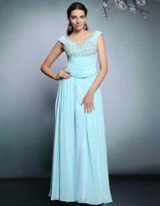 2015 Elegant Beauding Plissierten Langen Abendkleid