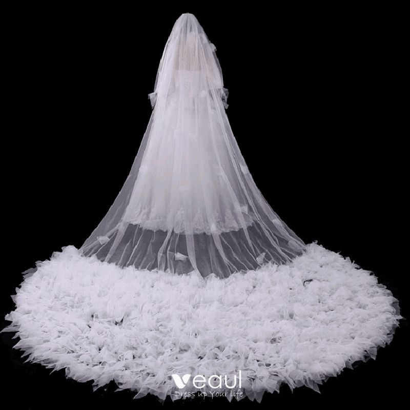 Chic / Beautiful White Wedding 2017 Tulle Embroidered Wedding Veils