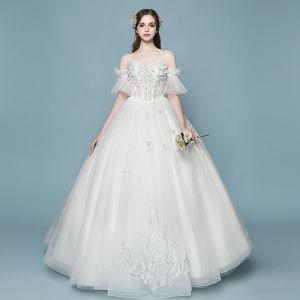 Erschwinglich Ivory / Creme Brautkleider 2018 Ballkleid Mit Spitze Blumen Applikationen Perle Herz-Ausschnitt Rückenfreies Lange Hochzeit