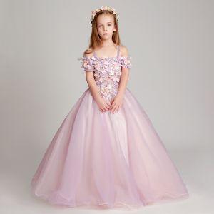 Mode Lavendel Mädchenkleider 2017 Ballkleid Off Shoulder Kurze Ärmel Applikationen Blumen Lange Rüschen Rückenfreies Kleider Für Hochzeit