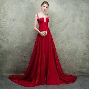 Luxury / Gorgeous Burgundy See-through Evening Dresses  2018 Empire Square Neckline Sleeveless Rhinestone Pearl Beading Court Train Ruffle Backless Formal Dresses