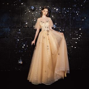 Charming Gold Prom Dresses 2020 A-Line / Princess Scoop Neck Lace Sequins Star Rhinestone Short Sleeve Backless Floor-Length / Long Formal Dresses