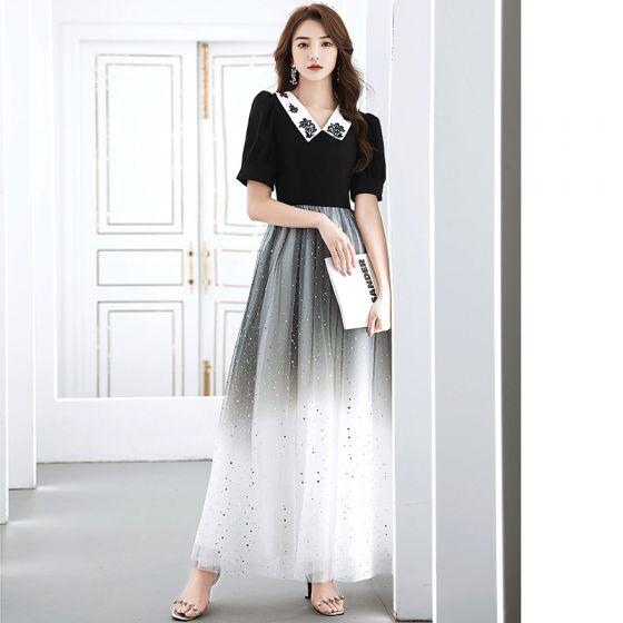 Vintage Schwarz Farbverlauf Weiß Abendkleider 2020 A Linie V-Ausschnitt Kurze Ärmel Pailletten Lange Rüschen Festliche Kleider