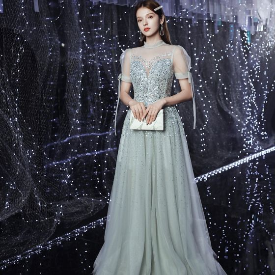 High-end Silver See-through Dancing Prom Dresses 2020 A-Line / Princess High Neck Puffy Short Sleeve Sequins Beading Rhinestone Floor-Length / Long Ruffle Backless Formal Dresses