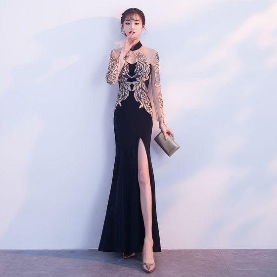 Style Chinois Noire Doré Transparentes Robe De Soirée 2018 Trompette /  Sirène Col Haut Manches Longues Appliques