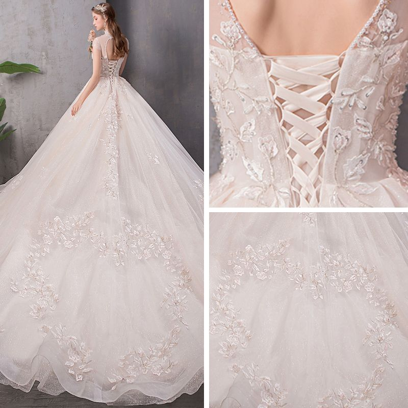 Vintage / Retro Champagne See-through Wedding Dresses 2019 A-Line / Princess High Neck Cap Sleeves Backless Glitter Tulle Appliques Lace Beading Cathedral Train Ruffle